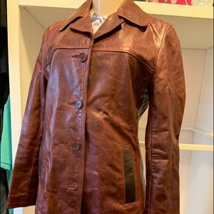Roots leather burgundy jacket size 8